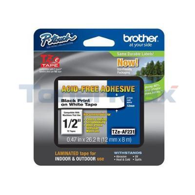 BROTHER TZ SERIES TAPE BLACK ON WHITE 1/2IN